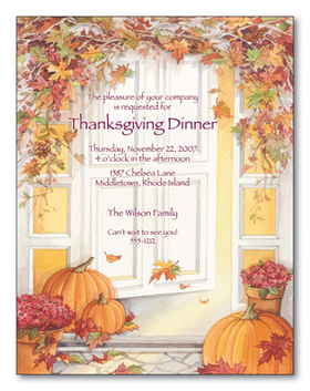 "This quality paper shows a welcoming white doorway with a striking archway made of Autumn leaves and garnished with berries.  There are pumpkins along the path leading to the door, as well as red potted flowers.  It is a perfect selection for Fall events like Thanksgiving Dinner. <p>Make an impression with our premium quality designer 8 ½"" x 11"" paper & coordinating envelopes which are laser/inkjet compatible. Coordinating envelopes are sold separately.</p> <p>Easy to print on your printer or we can print for you.</p>"