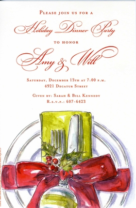 This beautiful holiday invitation features a regal placesetting with green napkin, large red bow and festive holly bough.  Perfect for any occasion this season!  Includes ivory envelope.