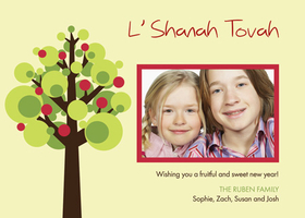 Celebrate Rosh Hashanah with this cream invitation sporting a modern apple tree design. This fun photo invitation has room for one digital photo. It is perfect for the Jewish New Year, Rosh Hashanah. Printed on high quality card stock using crisp digital printing. Includes white envelopes.