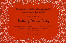 This beautiful holiday invitation features a festive red background with a bright white vine border and decorative blue stars.  Perfect for a holiday dinner party or cocktail party!  Includes white envelope.