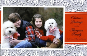This elegant holiday flat card has a festive grey and white patterned border with a red text area next to your photo.  What a beautiful way to bring a personal touch to your holiday cards this year!  Includes white envelope.