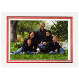 Discontinued<br><br>A classic fold over card printed on heavy white cardstock and edged with a Red foiled border the accent any of your favorite Holiday photots.  This card can be used vertically or horizonatlly Please specify how you would like to be printed.  Select from our group of verses to create your greeting inside, plus add your family names to the greeting.  Comes with a white envelope with red edging on the flap.  Assembly is required.