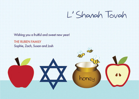 Celebrate Rosh Hashanah with this light blue polka dotted invitation decorated with bright red apple halves, a honey pot with little bees, and a Star of David. It is perfect for the Jewish New Year, Rosh Hashanah. Printed on high quality card stock using crisp digital printing. Includes white envelopes.