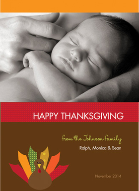 This cute Thanksgiving photo card is decorated with a little colorful turkey against a brown background. There is room for one photo as well as your personalized holiday message. A great way to keep in touch during the holidays! Printed on high quality card stock using crisp digital printing. Includes white envelopes.