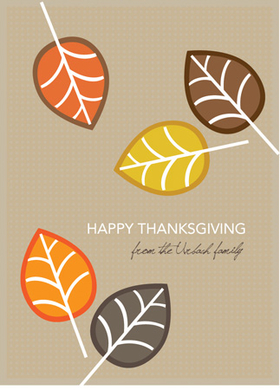 This cute Thanksgiving invitation is decorated with colorful fall leaves against a tan background. A great way to keep in touch during the holidays! Printed on high quality card stock using crisp digital printing. Includes white envelopes.