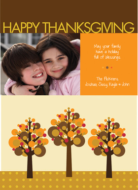 This cute Thanksgiving photo card is decorated with little colorful fall trees against a cream, brown, and orange background. There is room for one photo as well as your personalized holiday message. A great way to keep in touch during the holidays! Printed on high quality card stock using crisp digital printing. Includes white envelopes.