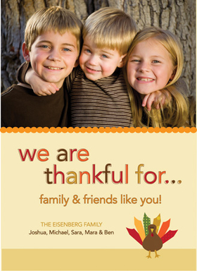 This cute Thanksgiving photo card is decorated with a little colorful turkey against a cream background. There is room for one photo as well as your personalized holiday message. A great way to keep in touch during the holidays! Printed on high quality card stock using crisp digital printing. Includes white envelopes.