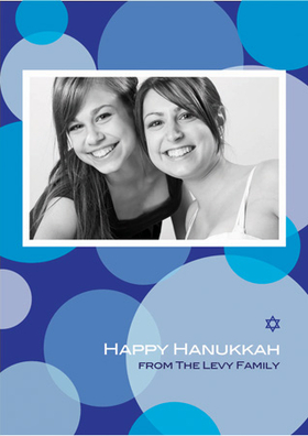 This Hanukkah photo card is decorated with modern blue overlapping circles against a blue background. There is room for one digital photo along with your personalized wording and a small Star of David. Stay in touch with everyone you care about this Hanukkah season!  Printed on high quality card stock using crisp digital printing. Includes white envelopes.