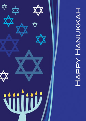 "A lovely folded holiday card perfect for Hanukkah! It is decorated with a modern blue design of a menorah, Stars of David, and the words ""Happy Hanukkah."" Your personalized wording is included inside. Printed on high quality card stock using crisp digital printing. Includes white envelopes."