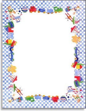 This adorable design features a blue and white checkered border with everything a baby boy could want - a choo-choo train, teddy bears and sail boats!  Our premium quality laser paper is easy to print on your inkjet/laser printer or we can personalize it for you.<br><br>Envelopes are sold separately.
