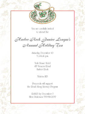 DISCONTINUED<br><br>This warm and inviting invitation shows a festive floral printed tea set and a slim red frame around the large area for your personalization, with a lovely pearl foil border.