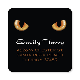 This square Halloween address label has two bright orange werewolf eyes glowing out of the black background. Perfect to coordinate with your Halloween invitations. Available personalized only.