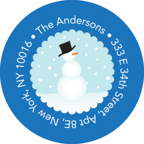 This adorable winter address label is decorated with a little snowman in a snowy wonderland with a blue border. Perfect to coordinate with your holiday invitations! Available personalized only.
