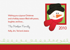 This cute and modern Christmas invitation is decorated with a white background and a red striped border. A foamy penguin sticker is placed in the center of a green square at the top. Invitation comes completely assembled Perfect to send a holiday greeting or use as invitations to your holiday party! Printed on high quality card stock using crisp digital printing. Includes white envelopes.