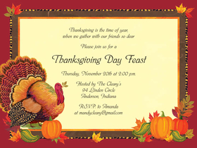 Stylish and festive Thanksgiving themed  invitation is perfect for any occasion!  Includes white envelopes.  This product can be purchased blank or we can print them for you.