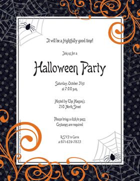 A black and orange bordered laser paper that is decorated with spider webs on the top and bottom and also has orange scroll to add a sophisticated touch for a halloween company party or halloween school function. Colored envelopes are available but are sold seperately.