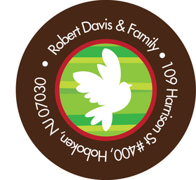 This classic winter address label is decorated with a bright white dove against a green striped background with a brown border. Perfect to coordinate with your holiday invitations! Available personalized only.