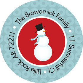 This adorable winter address label is decorated with a snowman wearing a scarf, carrot nose, and top hat against a red background. The border is made of a blue on blue circular pattern. Perfect to coordinate with your holiday invitations! Available personalized only.