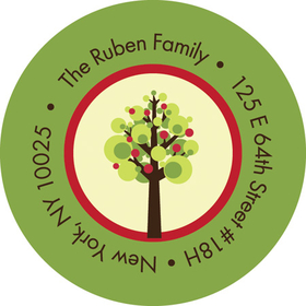 This cute address label is decorated with a little red and green apple tree on an ivory background with a green border. Perfect to coordinate with your Jewish New Year invitations or greeting cards! Available personalized only.
