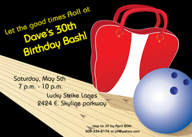 Bowling parties are always a hit for any age! This eye catching invitation has a bold black background and a bowling lane across the page along with a retro bowling bag and ball.  this invitation can be personalized for any age and with any text you would like.  Perfect for corporate events, adult and children bowling themed parties.  Includes white envelope. Upgrade to Bright red envelopes for .60 upgrade charge per envelope.  Add envelope change in you comments when checking out.