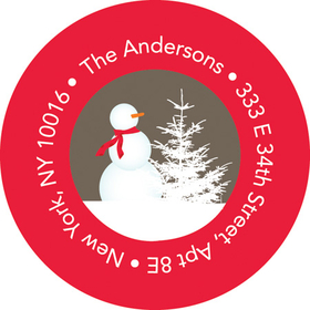 This adorable winter address label is decorated with a snowman wearing a scarf and carrot nose in a winter wonderland setting with a khaki background with a red border. Perfect to coordinate with your holiday invitations! Available personalized only.