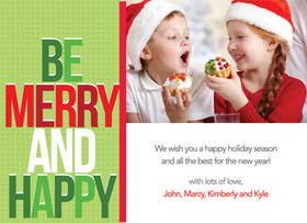 "This cute and modern photo card is decorated with a green polka dotted background and the words ""Be Merry and Happy"" in large block letters. It has room for one digital photo and your special holiday message! Printed on high quality card stock using crisp digital printing. Includes white envelopes."