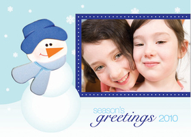This cute winter greeting card is decorated with a winter wonderland scene of snow covered pine trees and a snowman. It is set against a blue background. Perfect to send a holiday greeting to clients, family, or friends over the winter holiday season! Printed on high quality card stock using crisp digital printing. Includes white envelopes.