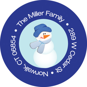 This adorable winter address label is decorated with a little snowman wearing a cap and scarf against a light blue background with a blue border. Perfect to coordinate with your holiday invitations! Available personalized only.