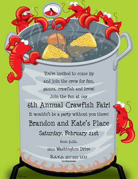 This fun and tasty invitation features a large silver pot over an open flame, with everything you need for a delicious crawfish dinner! Perfect for a bbq or crawfish boil.