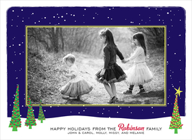 This classic photo card is decorated with a photo of your choice surrounded by a wintry border. It shows several decorated Christmas trees on a snowy expanse against a dark blue snowing skyline. There is also room for your personalized message along the bottom border. It is digitally printed on high quality card stock an makes a perfect selection for holiday photo cards! Includes white envelopes.