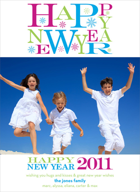 "This modern photo card is decorated with ""Happy New Year"" in blue, green, and purple with snowflakes against a white background. There is room for one digital photo and your personalized message. It is digitally printed on high quality card stock an makes a perfect selection for holiday photo cards! Includes white envelopes."