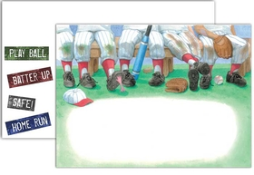 Time in the dugout made fun by your teammates and friends! This baseball themed card shows a typical scene of the dugout with baseball caps, catchers mitts, baseball bats, and baseballs strewn about. Their knees are all stained with grass and dirt just like the real thing! Perfect for your sports themed birthday, end of season party, or any baseball themed event. <p>Premium quality cardstock includes coordinating envelope shown. Inkjet/laser compatible and available blank or personalized.</p><br><br>