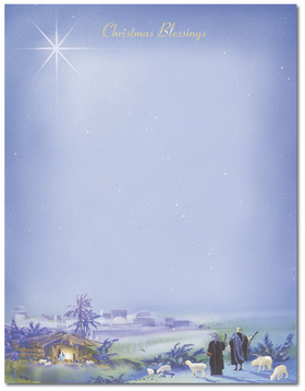 this beautiful laser paper features a nativity scene along the bottom with a shining white star
