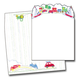 <B>ON SALE!  </B><br><br>These adorable invitations are perfect for any childs party!  The die-cut top is a parade of cars, trains and sailboats.  The coordinating envelope is included.  Both are easy to print on your laser/inkjet printer or let us print them for you!