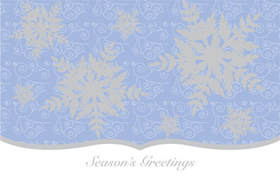 DISCONTINUED<br><br><br>This beautiful holiday card has silver snowflakes falling against a soft blue background and the words Seasons Greetings along the bottom.  The silver foil accents are an elegant touch! Envelopes are included.