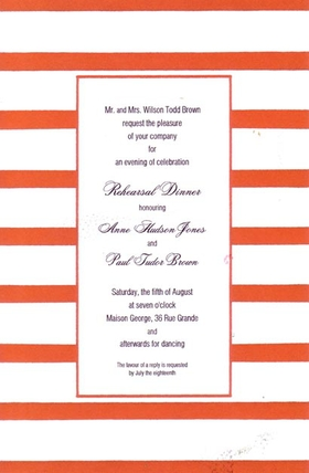 This versatile invitation has a fun border of bright red and white stripes and a thin red frame around the center area for your text. Printed on premium quality cardstock, they are easy to print on your inkjet/laser printer or let us print them for you!   Includes white envelopes.