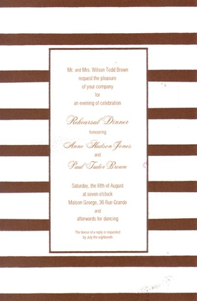 This versatile invitation has a fun border of coco brown and white stripes and a thin coco-colored frame around the center area for your text. Printed on premium quality cardstock, they are easy to print on your inkjet/laser printer or let us print them for you!   Includes white envelopes.
