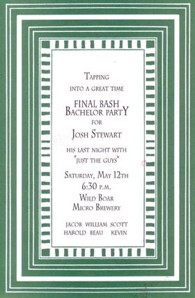This versatile invitation has a bold striped border in teal and white, with a slim frame in a contrasting stripe that accentuates your text in the large center area.  Great for a rehearsal dinner or bachelor party!  Includes white envelopes.