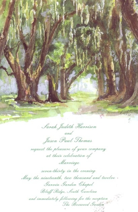 This majestic invitation has a water- color forest scene with large brown oak trees and beautiful green leaves and grass.   Includes white envelopes.