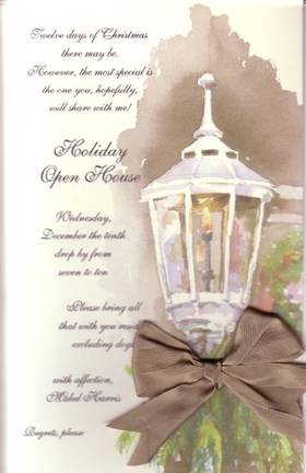 This stylish invitation features a warmly glowing  street lamp and a holiday wreath in the background.  The silky brown ribbon ties at the base of the lamp and adds an elegant touch.  Silk ribbon and envelopes are included.  Ribbon requires minimal assembly.