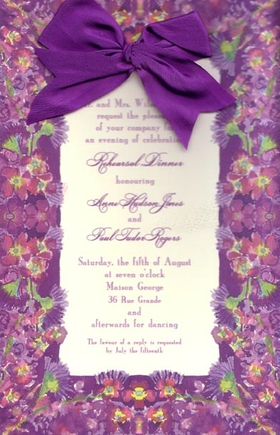This versatile invitation features a combination of elgance and whimsy!  A colorful border of rich purple flowers and green stems is topped off with a silky purple bow tied at the top!  The silk ribbons and envelopes are included.  Ribbon requires minimal assembly.