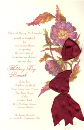 This lovely invitation features a flower bouquet in rich burgundy colors, with a silky ribbon intertwined to give it an elegant touch.  The silk ribbons and envelopes are included.  Ribbon requires minimal assembly.