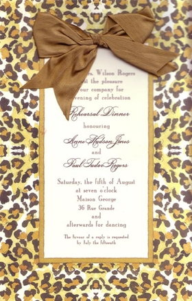 This stylish invitation is created with a combination of elegance and fun! The border is a brown and black leopard print, and a silky brown ribbon ties  at the top of your text area.  Silk ribbon and envelopes are included.  Ribbon requires minimal assembly.