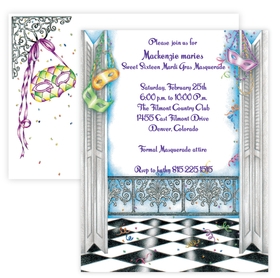 Get ready for the Mardi Gras season with this fun themed invitation.  Makes a great invitation for a masquerade party, or Mardi Gras themed gathering.  includes a coordinating envelope. <br>
