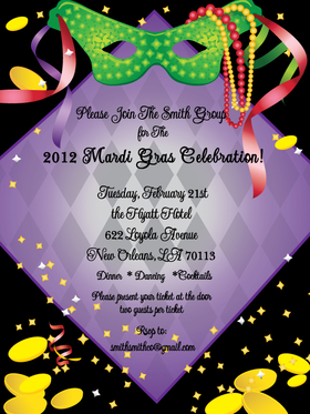 Joyeux mardi gras!   Get ready for Fat Tuesday with this beautiful invitation that is perfect for the Mardi Gras Fun. Designed with   Comes with a black background with Mardi gras mask at the top.  Comes with white envelopes.