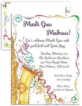 Jazz it up! for you next event with this fun invitation that is perfect for Mardi Gras season, Jazz themed parties or New Years eve!   Colorful confetti that flows around a bright gold colored saxophone makes this fun design come alive.   Includes a coordinating envelope. <br>