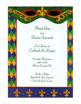 Lets Celebrate!  This contemporary Mardi Gras themed invitation has the traditional colors of Mardi Gras with an updated look to it!  Decorative spectacles are printed along the top green border and golden fleur de lis border the bottom.  A fun diamond pattern in green, purple and gold line both sides.<br><br>White envelopes are included, or you may upgrade to Emerald, Violet or Gold at no additional cost!  Please make a note in the Comments section if you would like to change your envelope color.<br><br>Premium quality cardstock.  Easy to print on your Inkjet/laser printer or we can personalize them for you!