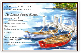 Beautiful blue water surrounds two wooden canoes tied to a dock on this colorful invitation that is perfect for your next lakeside picnic or family gathering!  Printed on premium quality 80 lb. cardstock and white envelopes are included. Available either blank or personalized.