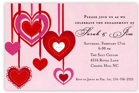 Brightly colored hearts are hanging from red ribbons on this beautiful invitation that is perfect for your engagement announcement or Valentines Day party! Printed on premium quality 80 lb. cardstock and white envelopes are included. Available either blank or personalized.