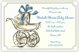 An elegant blue bow is tied on the top of an old-fashioned pram on this beautiful invitation that would also make a great birth announcement!  Printed on premium quality ivory card stock and ivory envelopes are included. Available either blank or personalized.